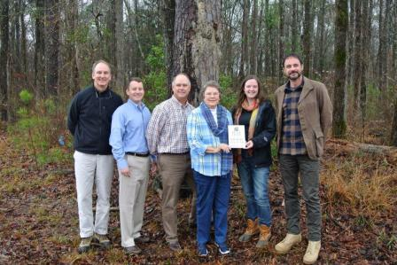 Russell Franklin,III, Mike Harrell, Wade Hall, Lynda Stuckey Franklin, Kat Nelson, with the Land Trust, and Jay W. Gould-Stuckey